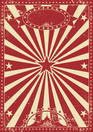 Vintage red circus poster with sunbeams for your entertainment Illustration
