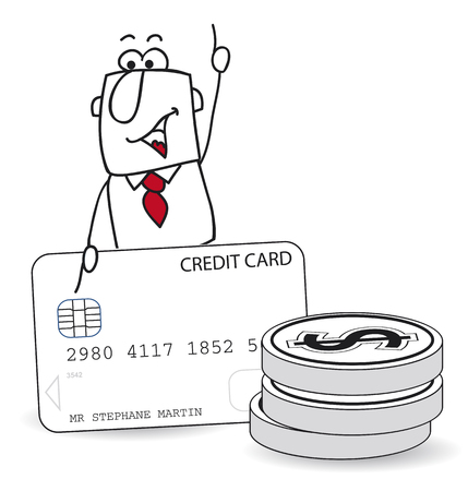 Cartoon character consumer that uses his credit card for purchases. Illustration