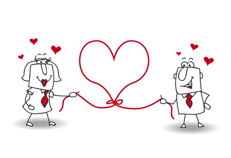 A couple holds a heart shape rope.  Its a metaphor of love