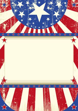 A grunge american poster  with stars and stripes