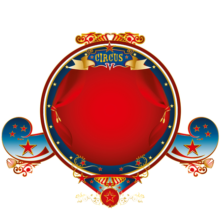 A circus gold label with red curtains and stars Illustration