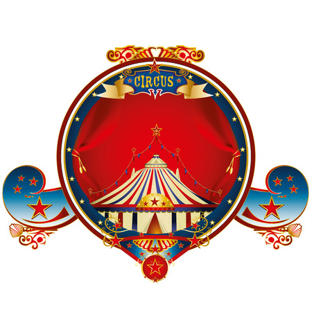 A circus gold label with a big tent and curtains