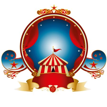 A circus gold label with a tent and red curtains