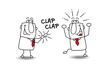 Bravo ! A man congratulates an other businessman who is very happy Illustration