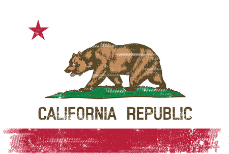 A flag of California with a grunge texture for your