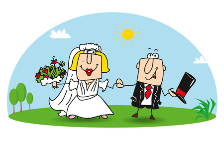 Karen and Joe get married. They are very happy Illustration