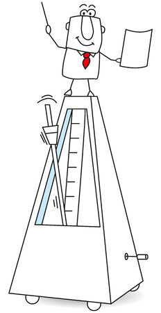 A man is standing over a giant metronome. It is a metaphor of the time and the tempo.