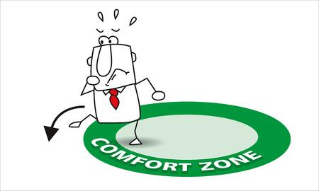 Joe verlässt seine Komfortzone. Es ist eine Metapher im Coaching