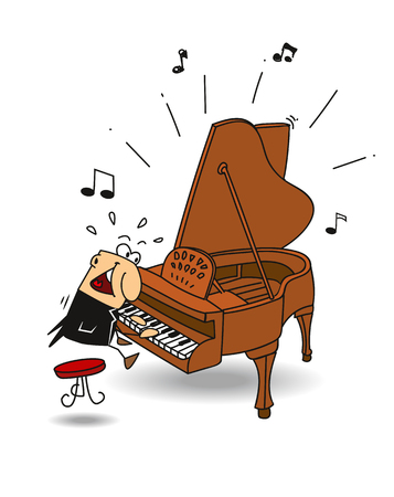 The pianist is playing classical music  Stock Illustratie