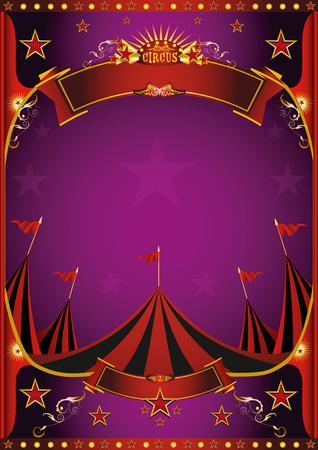 Ein lila Zirkusplakat mit einem Zirkuszelt für dich.