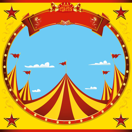 a square flyer on circus theme for you Illustration