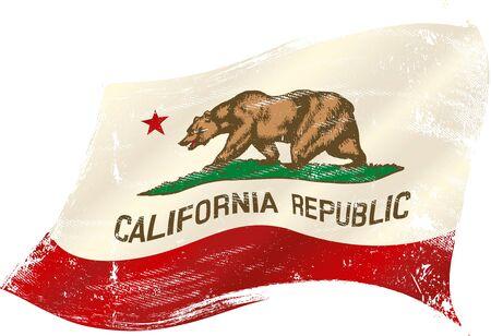 A grunge waving flag of california or the bear flag.  Illustration