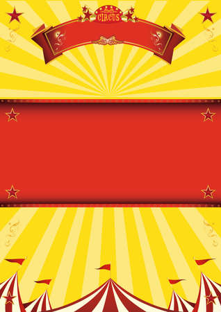 A yellow circus background for a poster with a red frame for your message!