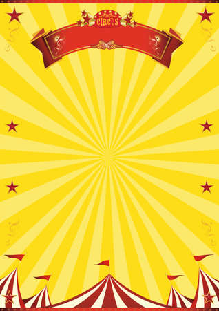 A circus vintage poster with sunbeams for your entertainment Ilustração