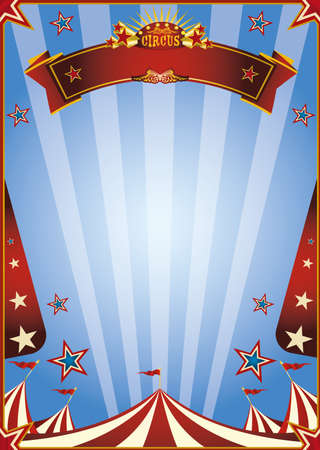 A blue circus background for a poster with a ribbon for your message!