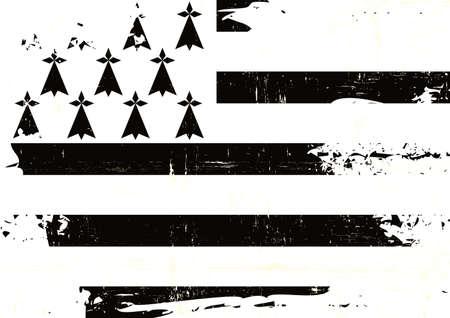 A grunge flag of Brittany for you Illustration