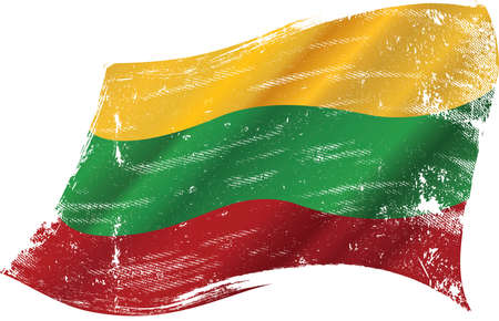 Lithuanian grunge waving flag. A grunge flag of Lithuania in the wind for you. Ilustração