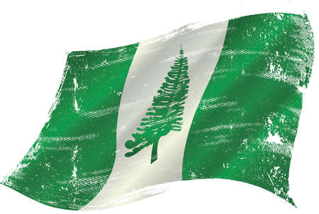 Norfolk Island grunge waving flag. A grunge flag of Norfolk Island in the wind for you.