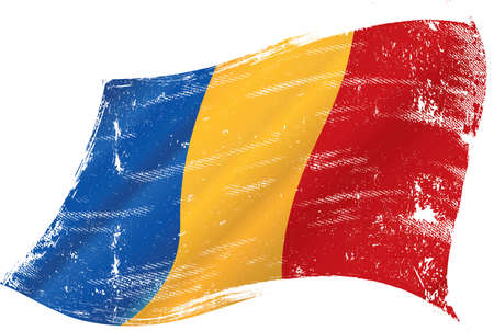 Romanian grunge waving flag. A grunge flag of Romania in the wind for you.