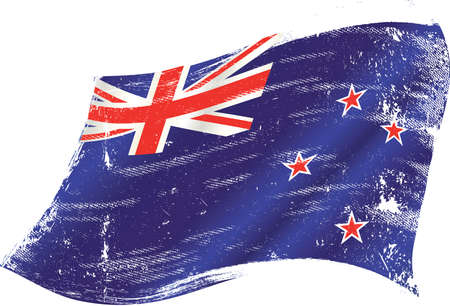 New Zealand grunge waving flag. A grunge flag of New Zealand in the wind for you.