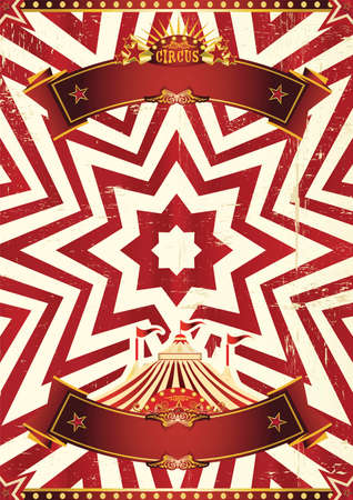 A red circus background for a poster with a ribbon for your message!