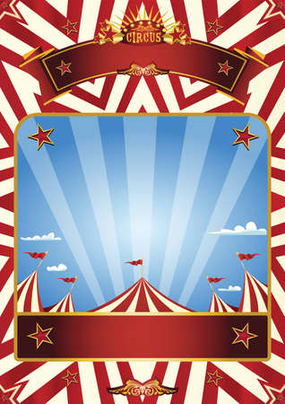 A blue circus background for a poster with a big top in a blue sky with sunbeams!