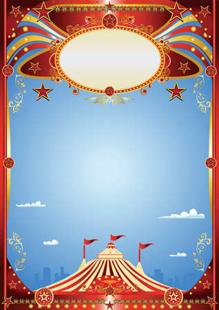 A blue circus background for a poster. Welcome to big top in the town! Ilustração