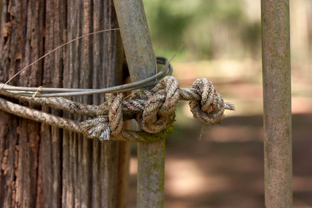old rope on wooden pole