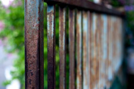 old fence in brown and blue color