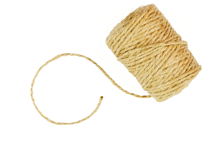 Roll of linen string rope isolated on white background