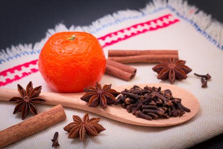 Assortment spice star anise, cinnamon sticks, cloves and orange for hot wine