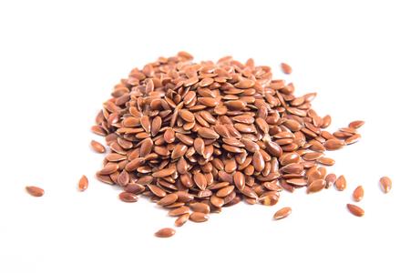 Close up Organic flax seeds on white background Stockfoto