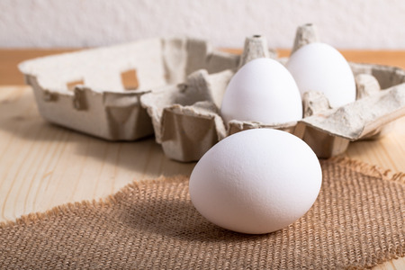 Healthy Food concept Organic eggs in paperboard cartons  Stock Photo