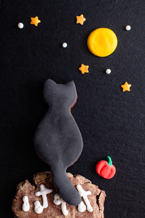 Food concept homemade black cat sugar cookie under the moon for party or halloween holiday