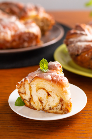 Food bakery concept fresh baked homemade Cinnamon Roll Braided Bread with copy space 스톡 콘텐츠