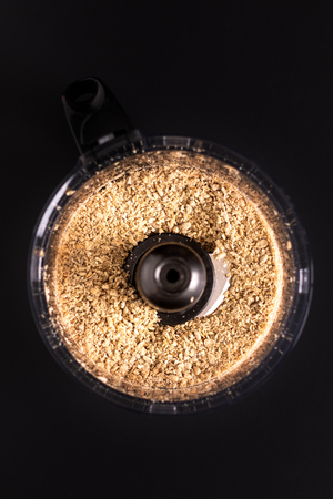 Healthy food concept roasted organic sunflower seeds in blender mixer t for make sunflower butter
