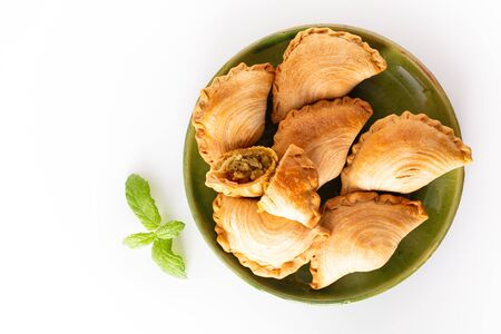 South east Asia origin food concept homemade chicken Curry puffs on white background with copy space 写真素材