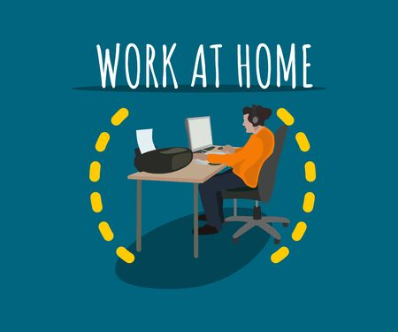 Vector flat design colorful man hipster working at home for any design