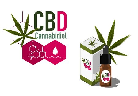Vector design Health and medical concept icon or logo for  CBD cannabinoids products by cbd molecule  and cbd oil package