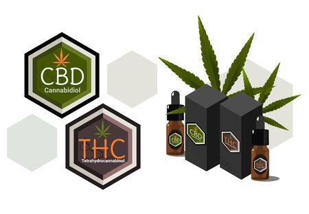 Vector design Health and medical concept icon or logo for  CBD cannabinoids and THC Tetrahydrocannabinol products and oil package