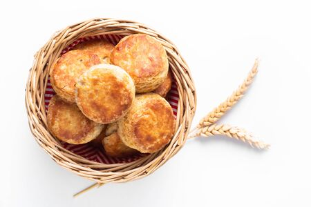 Food concept Homemade browned crust butter milk American biscuits or Scones with copy space