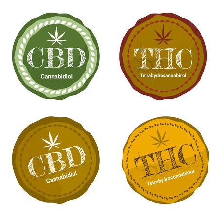 Vector design Health and medical concept 4 of icon or logo for CBD cannabinoids and THC Tetrahydrocannabinol products and oil