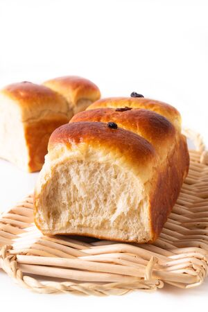 Food Baking concept Fresh baked organic homemade soft milk loaf bread on Wicker bread tray