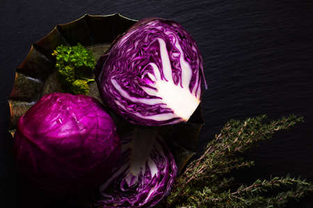 Food concept  organic cabbage on black slate board with copy space Stok Fotoğraf