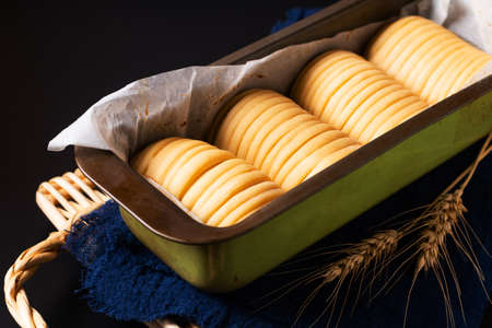 Food concept spot focus dough of Homemade organic Wool soft milk bread on black background with copy space
