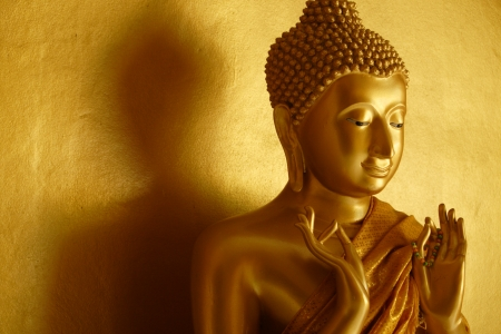 the sermon: Golden buddha statue in the first teaching gesture  Stock Photo