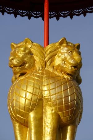 ashoka: Replica of a Pillar of Ashoka in a temple in Thailand Stock Photo