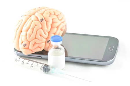 medulla: brain and mobile Stock Photo