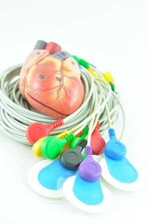 of electrocardiogram: leads of  electrocardiogram equipment Stock Photo