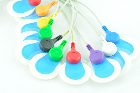 palpitations: leads of  electrocardiogram equipment Stock Photo